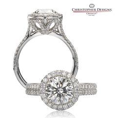 Anel de noivado ~ Crisscut Brilliant Halo Engagement ring.  Spring