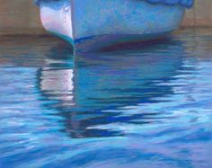 Afloat, Dinghy Reflection, Pastel Painting by Poucher, painting by artist Nancy Poucher Seascape Paintings, Landscape Paintings, Landscapes, Pastel Artwork, Pastel Paintings, Pastel Landscape, Chalk Pastels, Soft Pastels, Art Folder