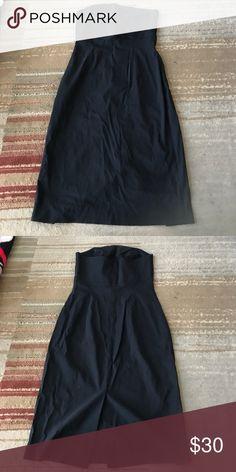 Black strapless dress. Black strapless dress. 3/4 length. Back slit. Express Dresses