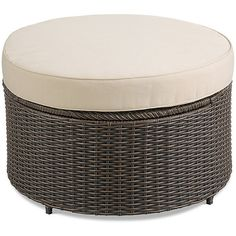 Improvements Marbella Round Ottoman Storage Table ($200) ❤ liked on Polyvore featuring home, outdoors, patio furniture, outdoor tables, accent table, contemporary table, decorative patio table, foot ottoman, modern table and patio cushion storage