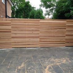 Western Red Cedar Slatted screen fencing offer these as individual battens or as pre built panels that simply screw into place. See website for info and pricing. Slatted Fence Panels, Fence Slats, Garden Fence Panels, Garden Fencing, Modern Wood Fence, Cedar Wood Fence, Modern Fence Panels, Wooden Fences, Backyard Garden Design