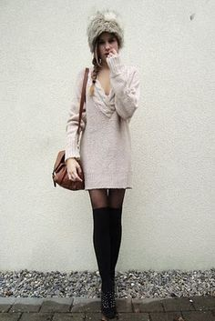 The sweater-dress looks pink, so I would rather it a different color. It looks cute. Idk about the hat. Maybe a russian hat would be better with no fur