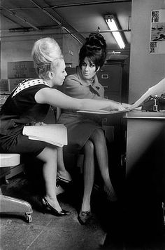 Office girls with big Beehive hair-dos, 1965, Photo by Inge Morath