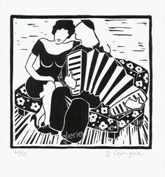 """De nouvelles gravures d'Olivier Lapicque viennent de faire leur entrée à la galerie :   """"Auprès de ma blonde"""", linogravure éditée à 75 exemp... Comme, Illustration, Paintings, Fictional Characters, Art, Etchings, Drawings, Lino Prints, Olive Tree"""