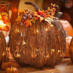 Pre-Lit Twig Pumpkin, 16x17 | Kirkland's