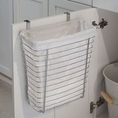 Axis Over-the-Cabinet Wastebasket - Chrome   Organize.com * I want it and it ships intl. But sadly out of stock OMG why?