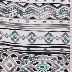 White/Grey Aztec Stripe - 28411 - Fabric By The Yard At Discount Prices