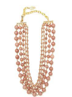 mauve jade bead necklace.