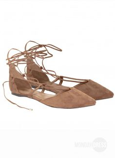 Walk My Way Lace Up Flats in Natural