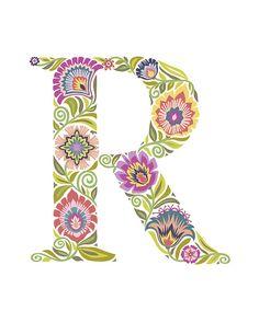 """Wycinanki Giclee Folk Art Print """"R"""""""