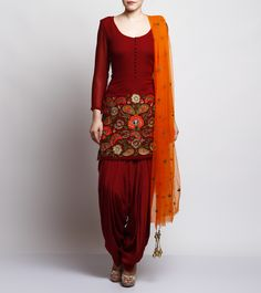 Maroon Georgette Patiala Suit #indianroots ethnicwear #patialasuit #georgette #embroidered