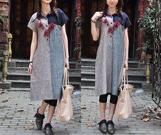 Linen Tunic  Linen Tunic Dress  Shirt Dress Top  by camelliatune, $69.00