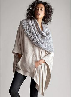 Hooded Long Poncho in Fine Guage Cashmere from Eileen Fisher and the scarf!