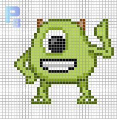 Mike Monsters, Inc. perler pattern - Patrones Beads / Plantillas para Hama