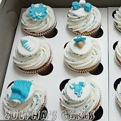 Baby shower cupcakes with handmade fondant toppers
