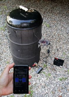 Tweeting, Wireless, Ugly Drum Smoker (UDS) temperature controller using Android - tutorial 55 Gallon Drum Smoker, Ugly Drum Smoker, Uds Smoker, Barrel Smoker, Cooking Beets, Smoker Cooking, Bbq Equipment, Diy Drums, Water Smoker