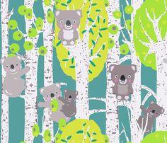 koalas in the trees fabric by katarina on Spoonflower - custom fabric