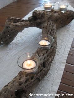 Desert wood votive candle holder - I'm going to use driftwood!