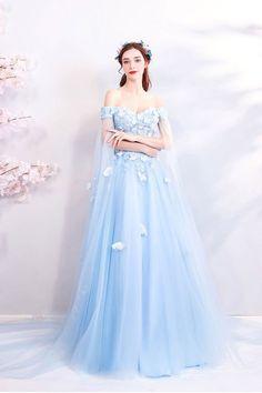 Cute Prom Dresses, Ball Dresses, Pretty Dresses, Beautiful Dresses, Baby Blue Wedding Dresses, Light Blue Wedding Dress, Royal Dresses, Gorgeous Dress, Fairytale Dress