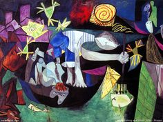Night Fishing at Antibes: 1939 by Pablo Picasso (Museum of Modern Art, New York, NY) - Cubism