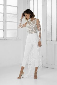 Patsy Rime Arodaky jumpsuit with white crepe cigarette pants & Italian tulle bodice. Belted Dress, Lace Dress, Wedding Pantsuit, Wedding Jumpsuit, Jumpsuit Dressy, Bridal Gowns, Wedding Dresses, Civil Wedding, Straight Dress