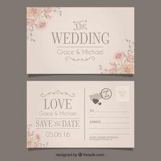 Convite de casamento em grande estilo cartão postal Vetor grátis: