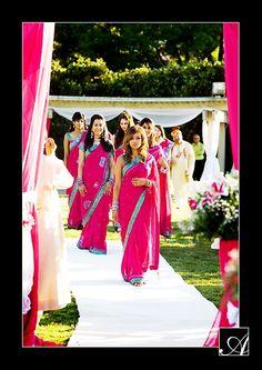 lovely pink bridesmaids sarees