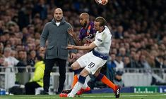 Spurs were dealt an injury blow in the second half when No 10 Harry Kane turned his left ankle when challenging Fabian Delph Champions League Live, Penalty Kick, Raheem Sterling, Mauricio Pochettino, Harry Kane, Free Kick, Pep Guardiola, Team Photos, Tottenham Hotspur