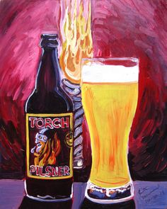 Beer Painting of Torch Pilsner by Foothills Brewing. Year of Beer Paintings by Scott Clendaniel - Day Craft Beer Gifts, Bee Painting, Pilsner Beer, Beer Art, Brewery, Whiskey Bottle, Muse, Paintings, Drinks
