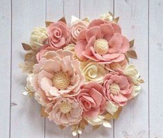 Soft pinks, cream and gold accents make this one of our most elegant pieces yet! Made with high quality wool blend felt, Felt Flower Bouquet, Felt Flowers, Diy Flowers, Fabric Flowers, Paper Flowers, Floral Flowers, Floral Nursery, Floral Wall Art, Gold Nursery