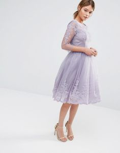 Image 4 ofChi Chi London Premium Lace Midi Prom Dress With Sleeve