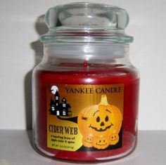 Yankee Candle Halloween Cider Web Apple Cider and Spice 14.5 oz Fall Fragrance #YankeeCandle