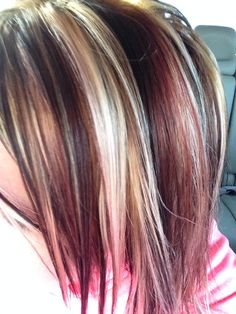 Foiled hair color- brown and red lowlights with chunky highlights Small Town Curl