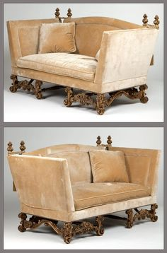 A pair of carved giltwood ''Knole'' sofas : Lot 1107
