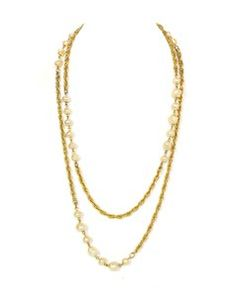 Chanel Chanel Vintage Goldtone and Faux Pearl Necklace