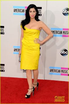 Sarah Silverman hits the red carpet at the 2013 American Music Awards held at the Nokia Theatre L.A. Live in Los Angeles. #Hollywood #Fashion #Style #Beauty