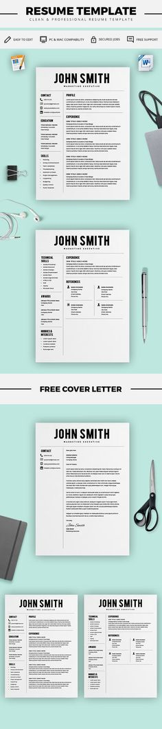 Modern Resume Templates Resume Template - Resume Builder - CV Template + Cover Letter - MS Word on Mac / PC - Sample - Best Resume Templates - Instant Download