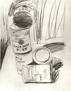 A extremely rare sketch of the 1962 famous Campbell's Soup Cans by Andy Warhol. I dislike Warhol but this is a wonderful sketch. Andy Warhol Pop Art, Andy Warhol Drawings, Art Drawings, Alphonse Mucha, Johannes Itten, Pittsburgh, Pablo Picasso, Expo, Gravure