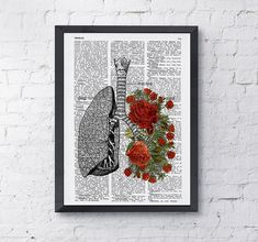 Lungs with red roses human Anatomy Print - Anatomy art gift, love art, human anatomy art, lungs and roses art Cage Thoracique, Human Anatomy Art, Clinic Interior Design, Rose Art, Antique Books, Collage Art, Red Roses, Lungs, Images