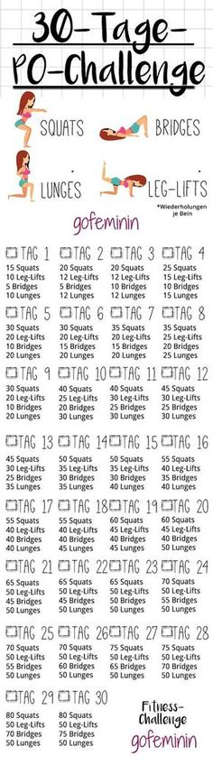30 days Po Challenge: In a month to a crisp butt! - Sabrina Harres 30 Tage Po-Challenge: In einem Monat zu einem knackigeren Po! Po Challenge: In a month to a crisp butt! # Challenge (exercise plan for printing) Reto Fitness, Fitness Workouts, Fitness Herausforderungen, Butt Workout, At Home Workouts, Health Fitness, Body Workouts, Sport Fitness, Easy Fitness