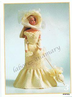 Yellow Barbie dress with diagram