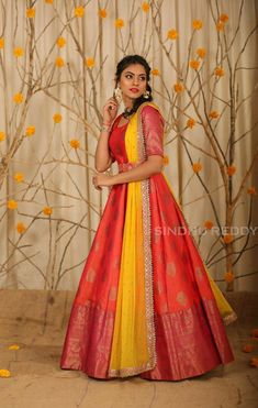Indian Gowns Dresses, Indian Fashion Dresses, Dress Indian Style, Indian Designer Outfits, Half Saree Designs, Fancy Blouse Designs, Stylish Dress Designs, Stylish Dresses, Lehenga Saree Design