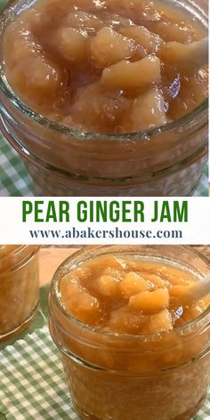 Ginger and pear come together to make a warm, spiced jam. Use pear ginger jam with cheese, on toast, with meats, or as a substitute for applesauce. Fresh Pear Recipes, Pear Recipes Healthy, Pear Jelly Recipes, Asian Pear Recipes, Pear Recipes Dinner, Recipes With Pears, Ginger Butter Recipe, Ginger Jelly Recipe, Spiced Pear Jam Recipe