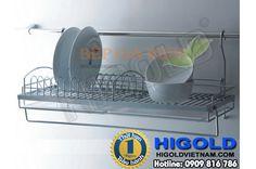 Kệ úp chén Inox treo ngoài 1 tầng Higold – 403021