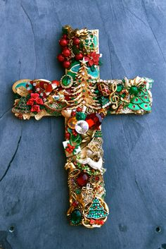 Hand Designed Recycled and Vintage Jewelry Christmas Wall Cross.