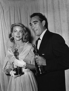 """Best Supporting Actress Dorothy Malone (""""Written on the Wind"""") and Best Supporting Actor Anthony Quinn (""""Lust for Life"""")."""