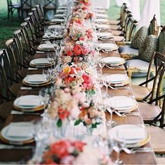 Farm table with white or creme runner- no tablecloth