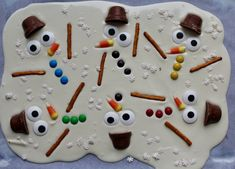 melted snowman bark use Rolos or mini oreos for hats instead (nut allergies)