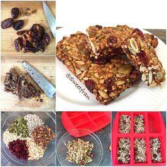 Barritas de semillas y cereales.  Ingredientes: -10 dátiles (compre con cuesco que son mas cremosos) -1/4 de taza de semillas de calabaza(zapallo peladas) -1/4 de taza de semillas de girasol (maravilla peladas) -1/4 de taza de cranberries -1/4 de taza de maní picado (peanut) -1/4 taza de pipocas de quinoa (pueden ser pipocas de amaranto, mijo o arroz integral inflado)  Preparación: 1-Retirar el cuesco (carozo) de los datiles y con un cuchillo picarlos hasta que se forme una pasta de…