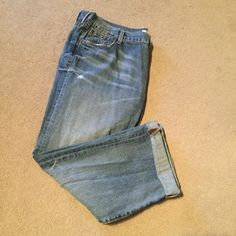 "Destroyed Boyfriend Jeans Awesome pair of BF jeans. Roll them or wear them loose and long. Approx 29.5"" unrolled inseam. 100% Cotton...not stretchy! Great color too! Worn and washed....but I have too many! Jeans Boyfriend"